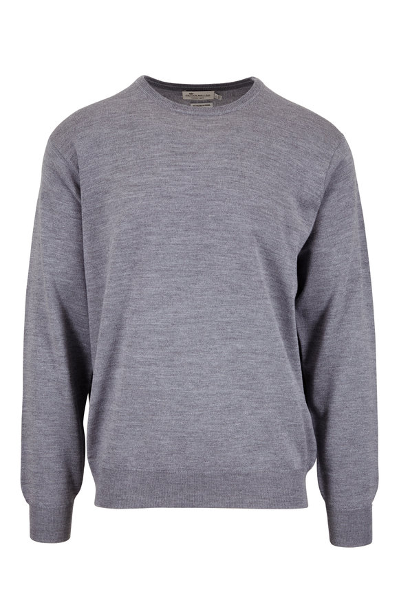 Peter Millar Gray Merino Wool & Silk Crewneck Sweater