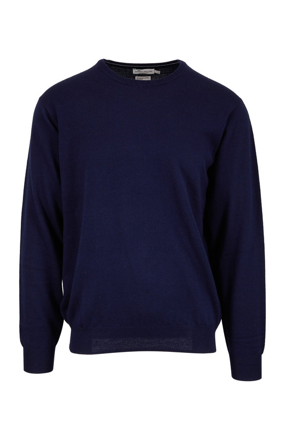 Peter Millar Navy Blue Merino Wool & Silk Crewneck Sweater