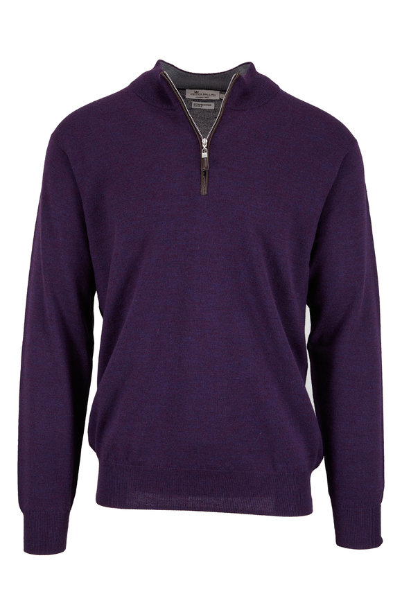 Peter Millar Blackberry Wool & Silk Quarter-Zip Pullover
