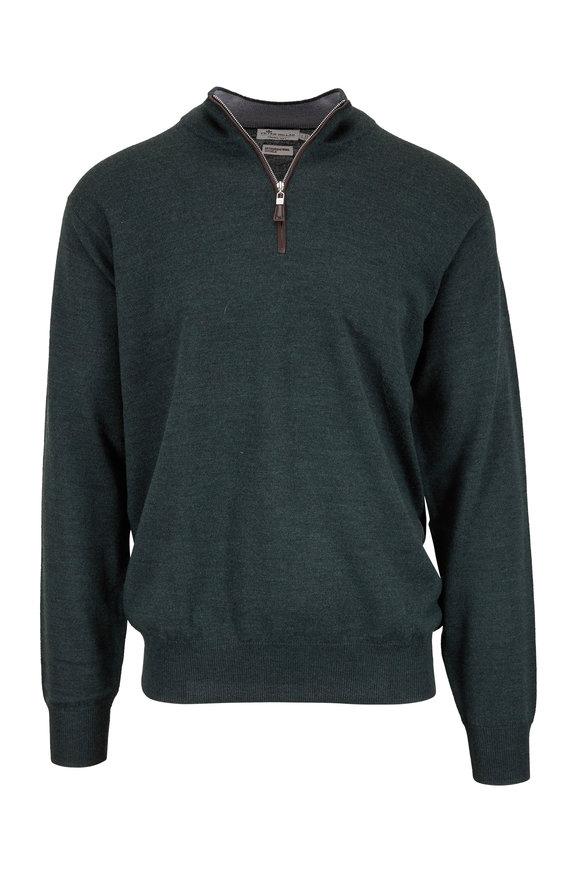 Peter Millar Spur Green Wool & Silk Quarter-Zip Pullover