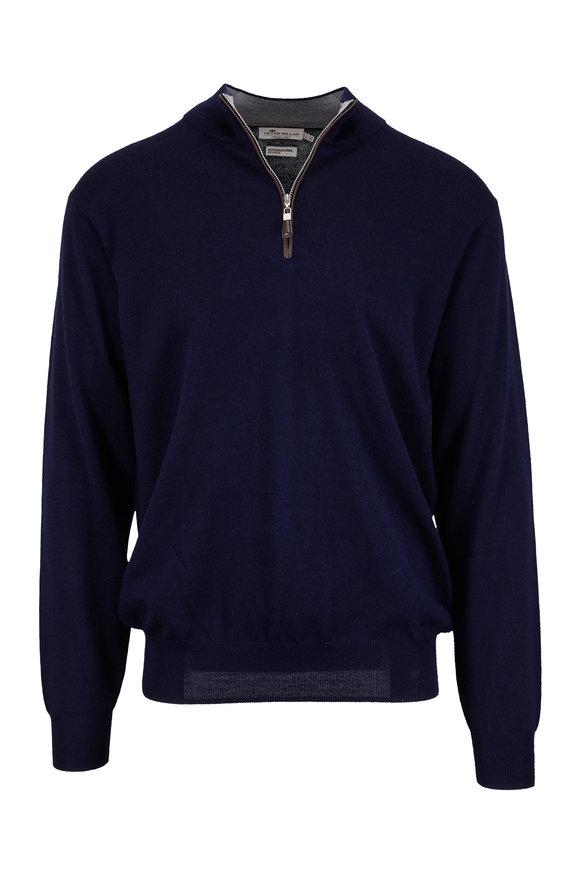 Peter Millar Nappa Navy Blue Wool & Silk Quarter-Zip Pullover