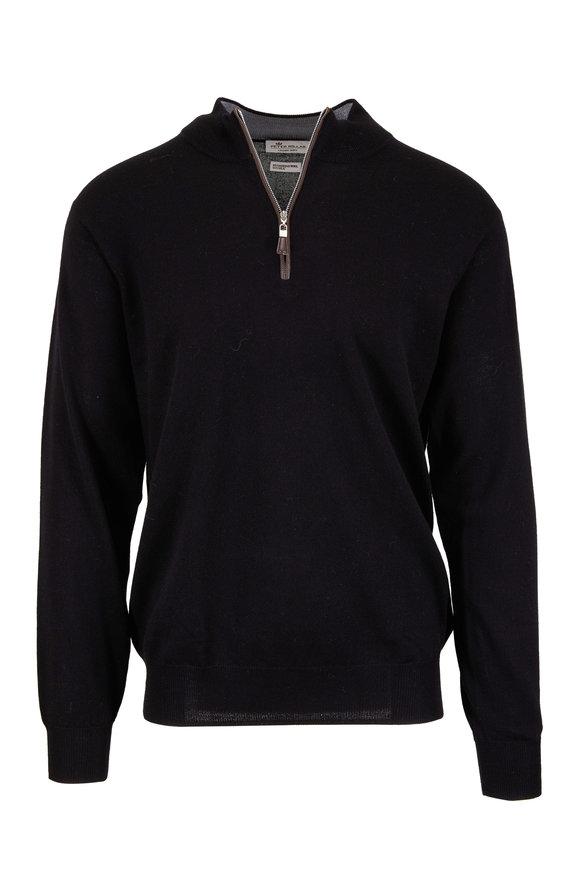 Peter Millar Nappa Black Wool & Silk Quarter-Zip Pullover