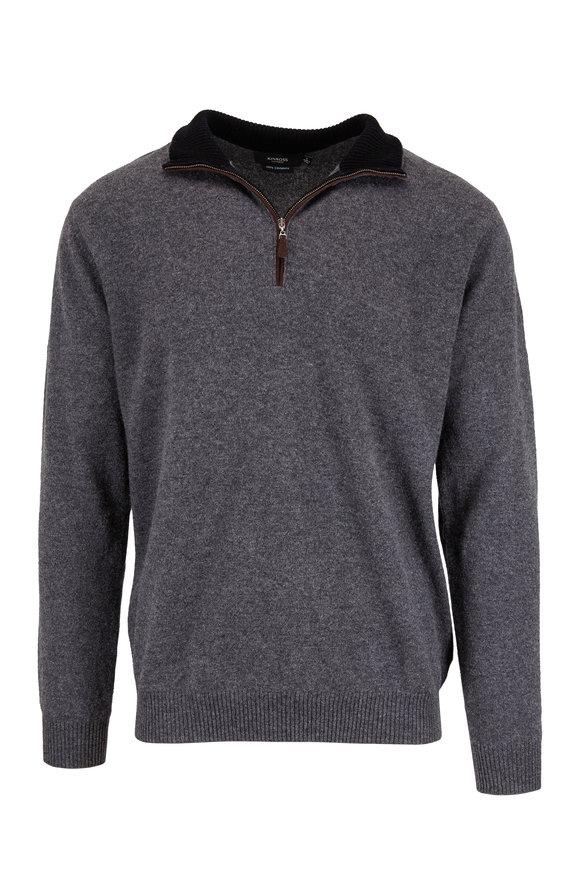 Kinross Graphite Cashmere Quarter-Zip Pullover