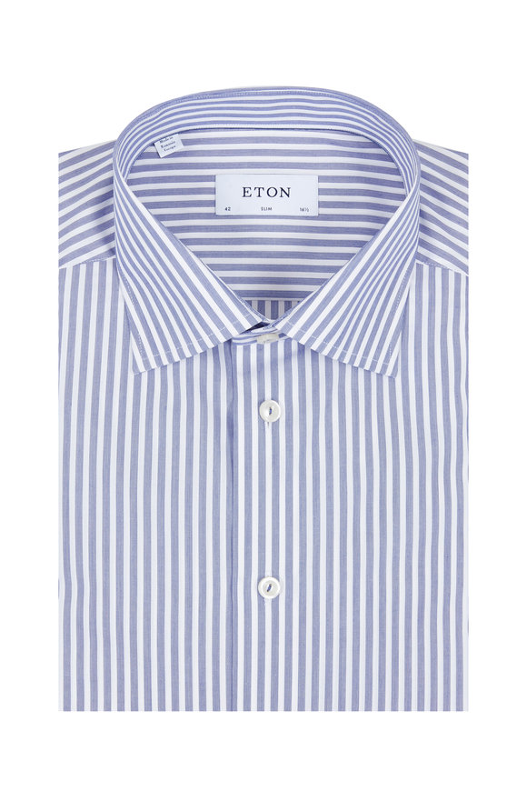 Eton Medium Blue & White Striped Sport Shirt