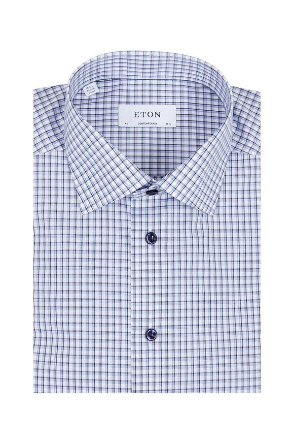Eton Blue & Gray Check Sport Shirt