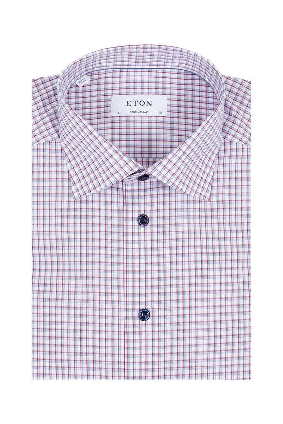 Eton Burgundy & Navy Check Dress Shirt