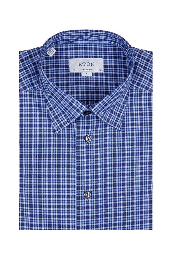 Eton Medium Blue Plaid Sport Shirt