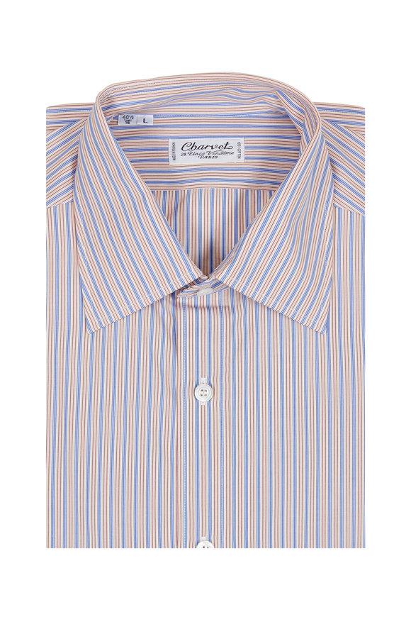 Charvet Tan & Blue Striped Dress Shirt