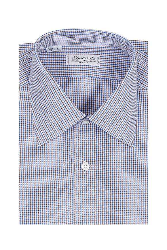 Charvet Blue & Brown Check Dress Shirt