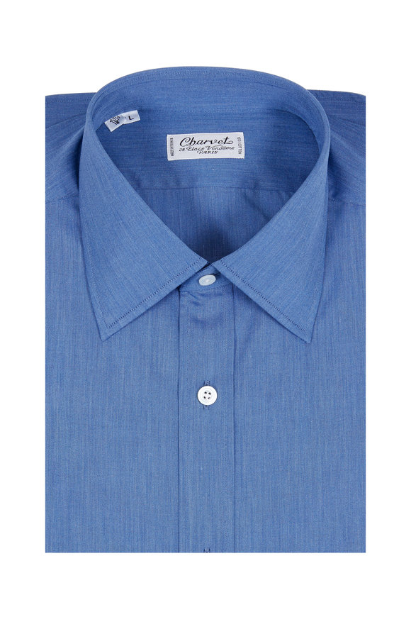 Charvet Solid Blue Dress Shirt