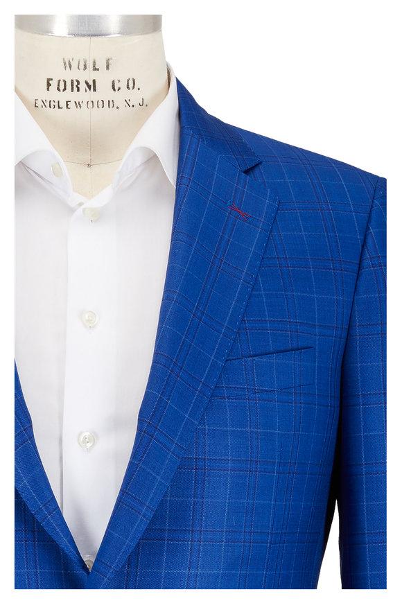 Samuelsohn Bennet Blue Plaid Wool Sportcoat