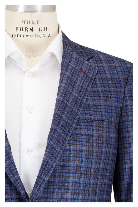 Samuelsohn Bennet Blue Tattersol Plaid Wool Sportcoat