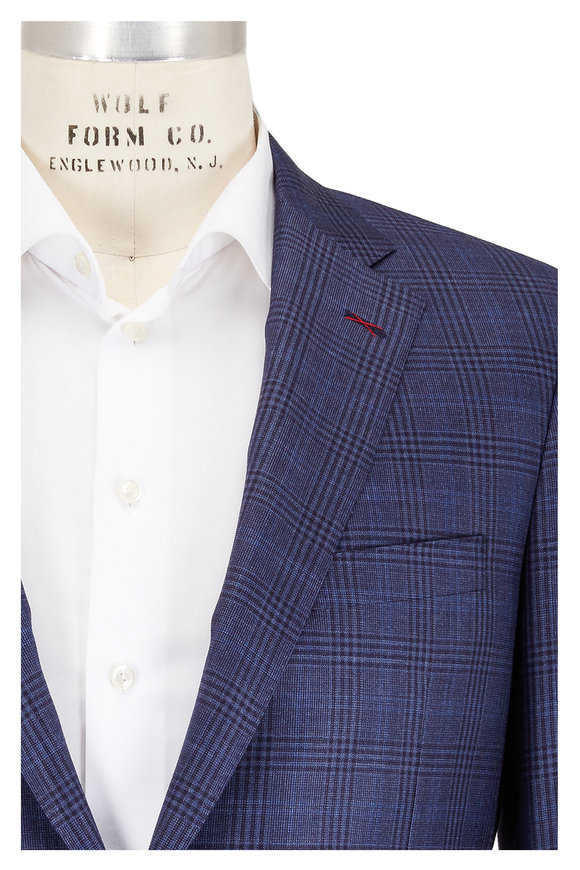 Samuelsohn Bennet Slate Blue Plaid Wool Sportcoat