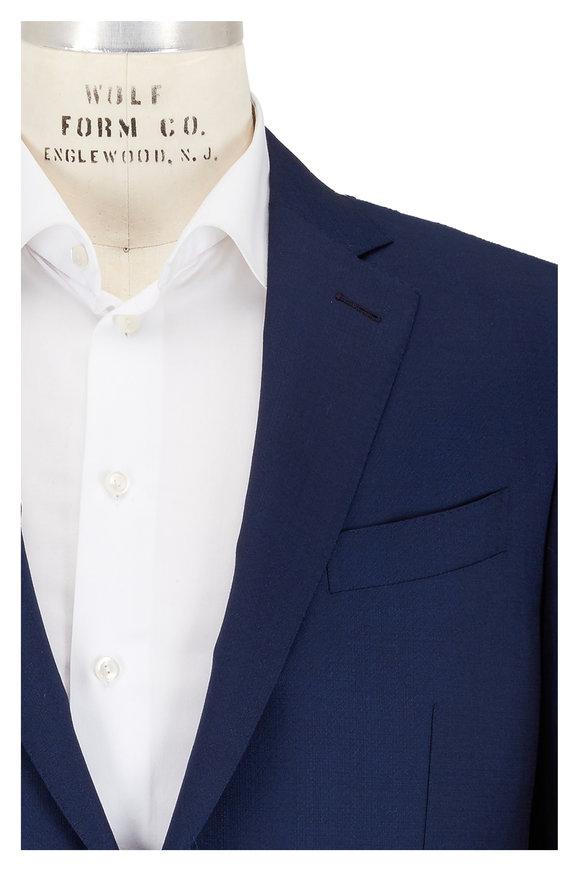 Ermenegildo Zegna Solid Navy Blue Wool & Silk Suit