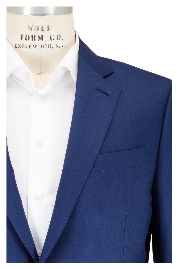 Ermenegildo Zegna Navy Blue Tonal Micro Herringbone Wool Suit