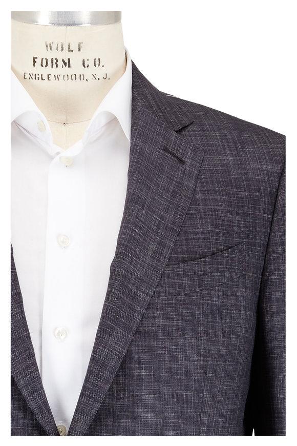 Ermenegildo Zegna Charcoal Heathered Wool & Silk Suit
