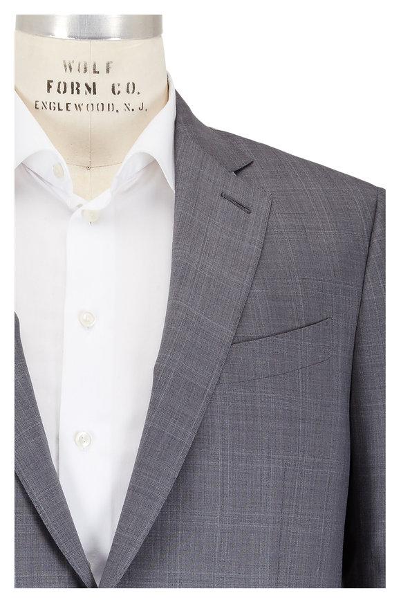 Ermenegildo Zegna Charcoal Gray Tonal Windowpane Wool & Silk Suit