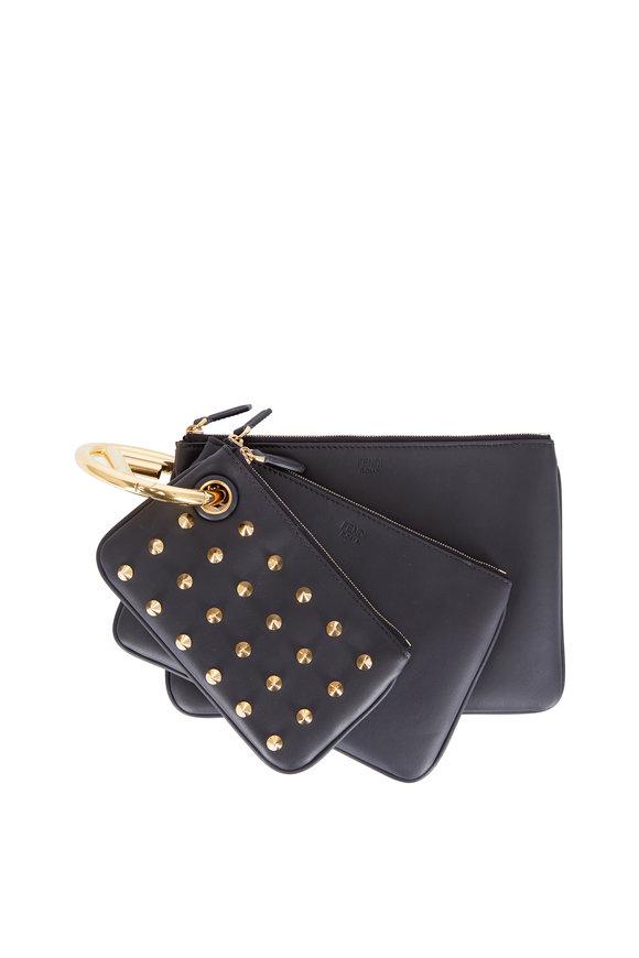 Fendi Triplette Black Leather Various Size Pouches