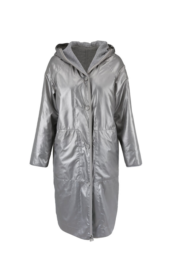 Akris Paradiso Gravel Taffeta & Wool Two-In-One Coat