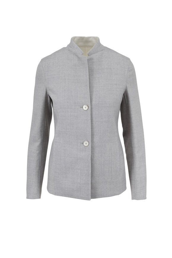 Akris Oberon Gravel & Ivory Wool Reversible Jacket