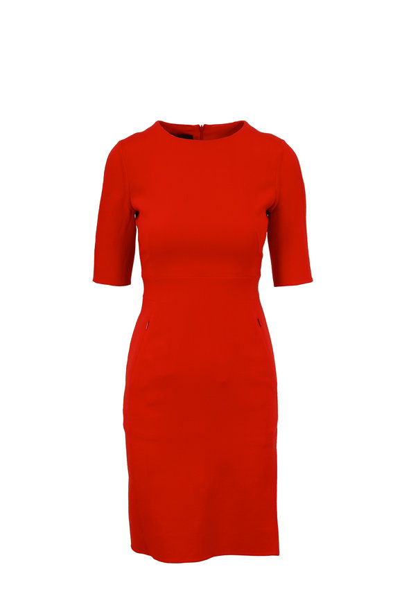 Akris Love Red Double-Faced Wool Elbow Sleeve Dress