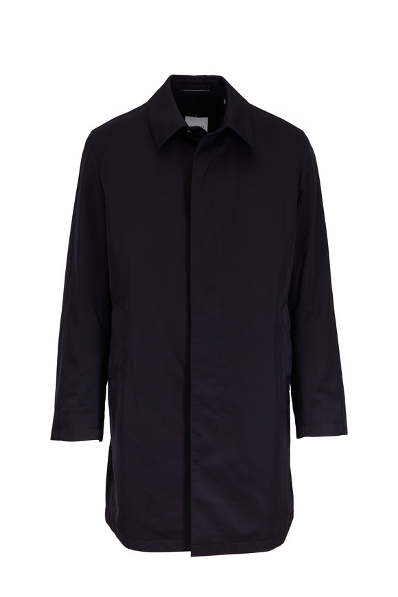 Sanyo Fashion House Leonard Navy Micro Nylon Twill Trench Coat