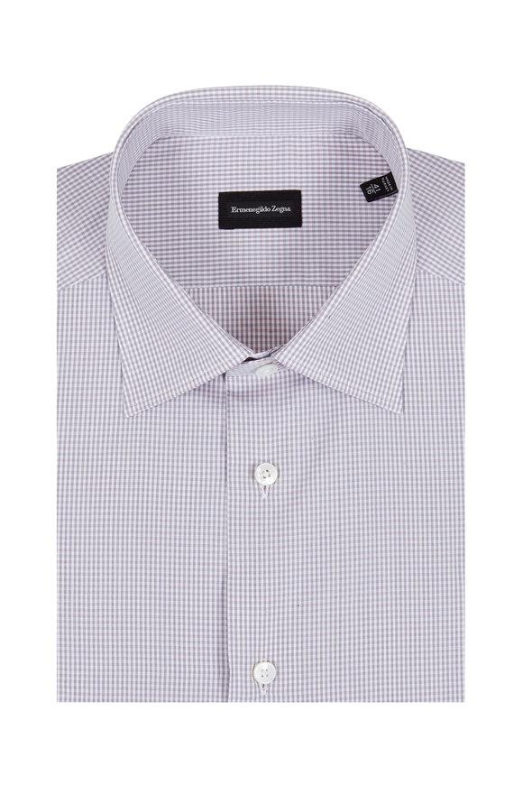 Ermenegildo Zegna Pink & Gray Check Dress Shirt