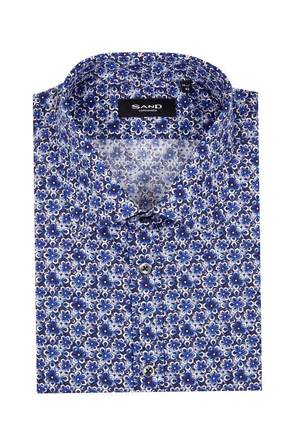 Sand Royal Blue Floral Sport Shirt