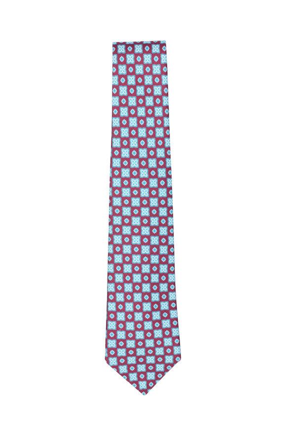 Kiton Red & Teal Medallion Silk Necktie