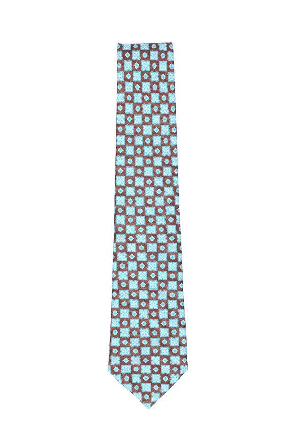 Kiton Brown & Teal Medallion Silk Necktie