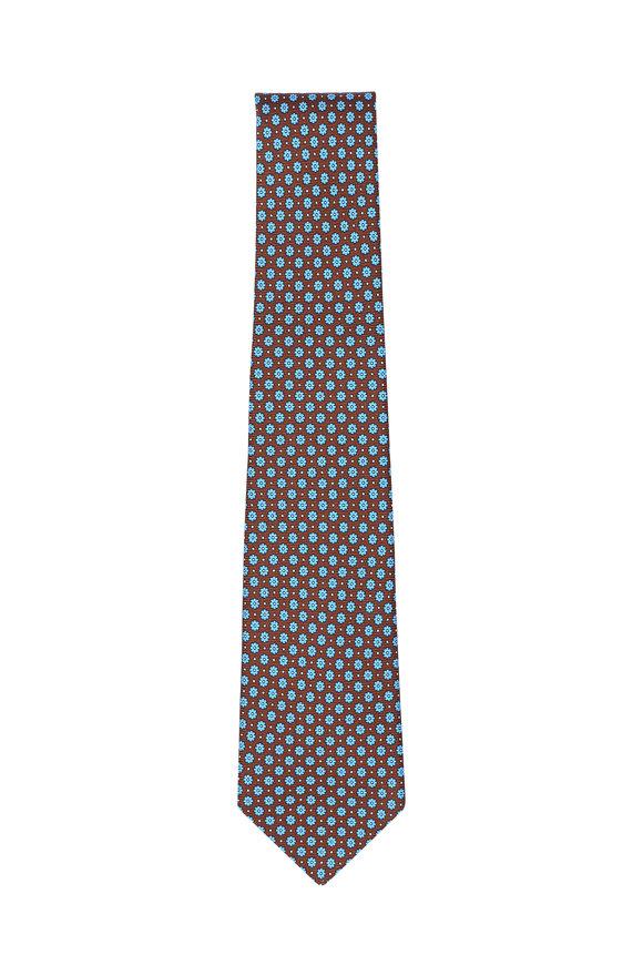 Kiton Brown & Blue Floral Silk Necktie
