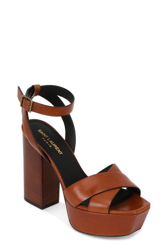 Saint Laurent Farrah Caramel Criss-Cross Platform Sandal, 125mm