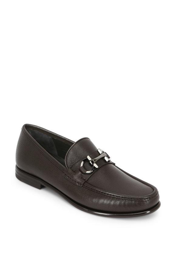 Salvatore Ferragamo Crown Dark Brown Grained Leather Bit Loafer