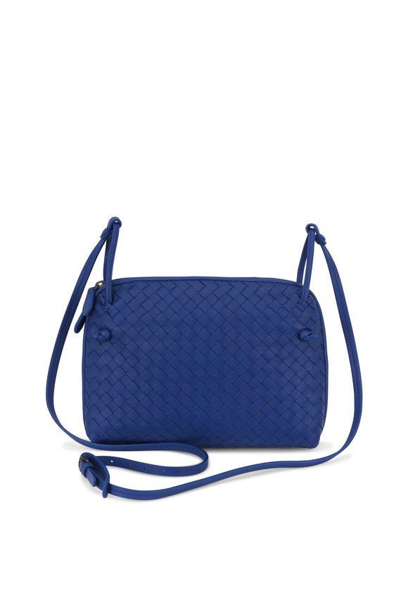 Bottega Veneta Pillow Cobalt Blue Intrecciato Leather Crossbody