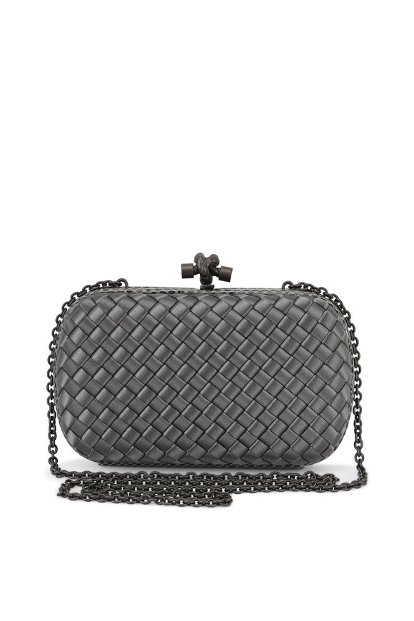 Bottega Veneta Grey Satin Intrecciato & Snakeskin Knot Clutch