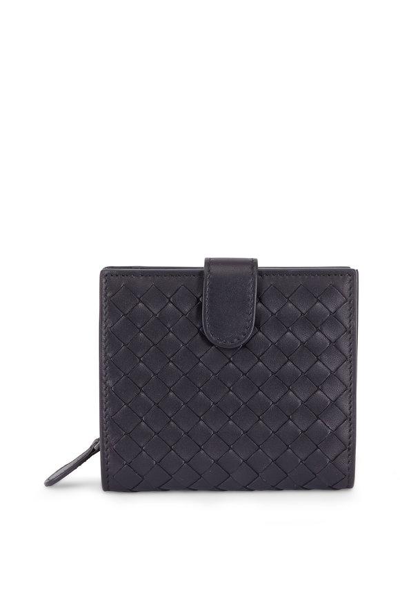 Bottega Veneta Black Intrecciato French Wallet