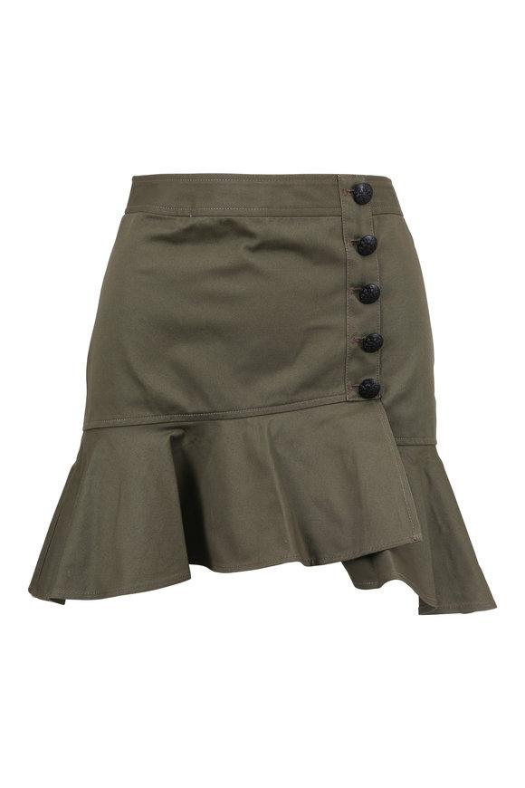 Veronica Beard Claremont Army Green Mini Skirt