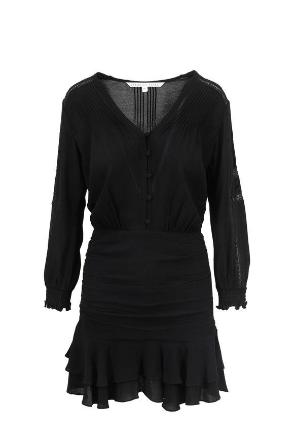 Veronica Beard Sarasota Black Pintuck & Lace Detail Flounce Dress