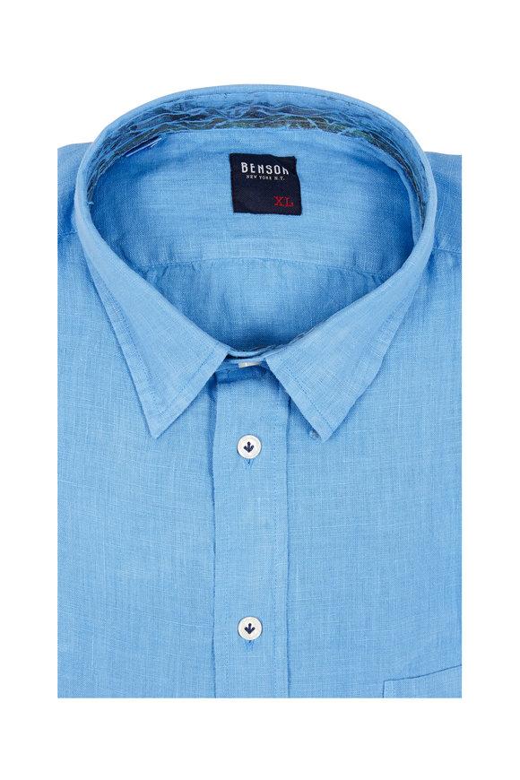 Benson  Medium Blue Linen Sport Shirt