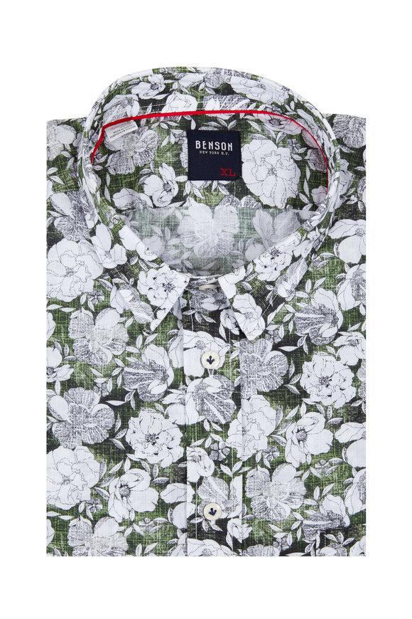 Benson  Green Floral Sport Shirt