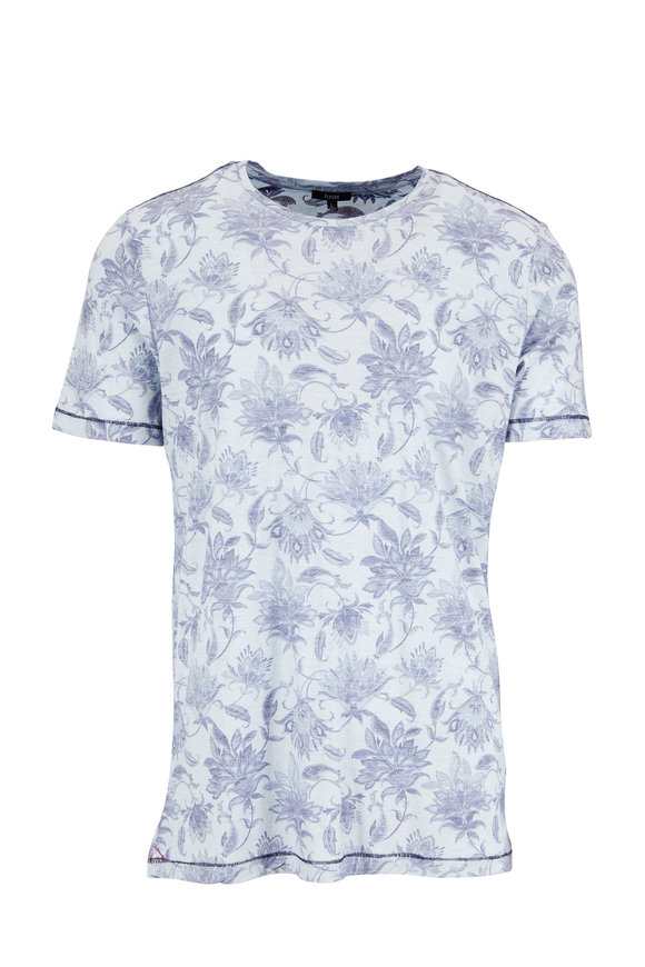 Benson  Navy Faded Floral Print Jersey T-Shirt