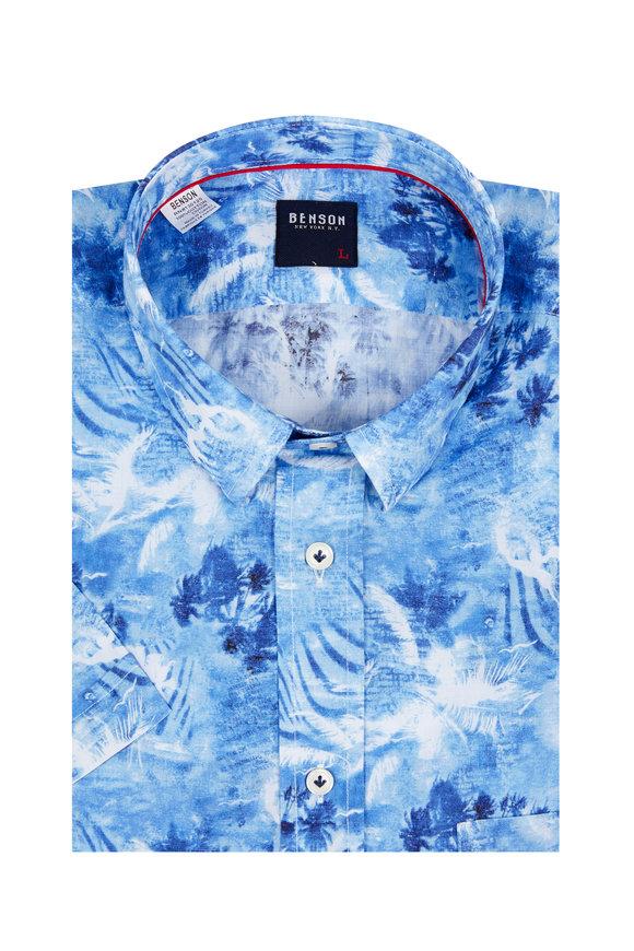 Benson  Blue Hawaiian Short Sleeve Sport Shirt