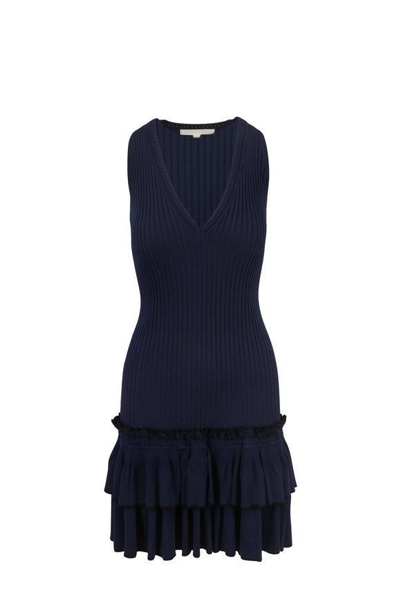 Jonathan Simkhai Midnight V-Neck Ruffled Sleeveless Dress