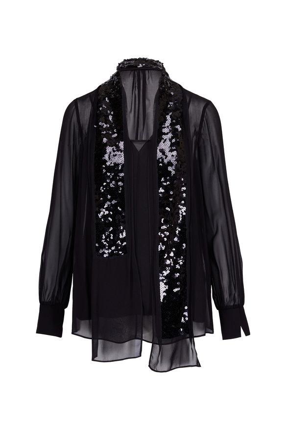 Dorothee Schumacher Black Silk & Sequin Shawl Blouse
