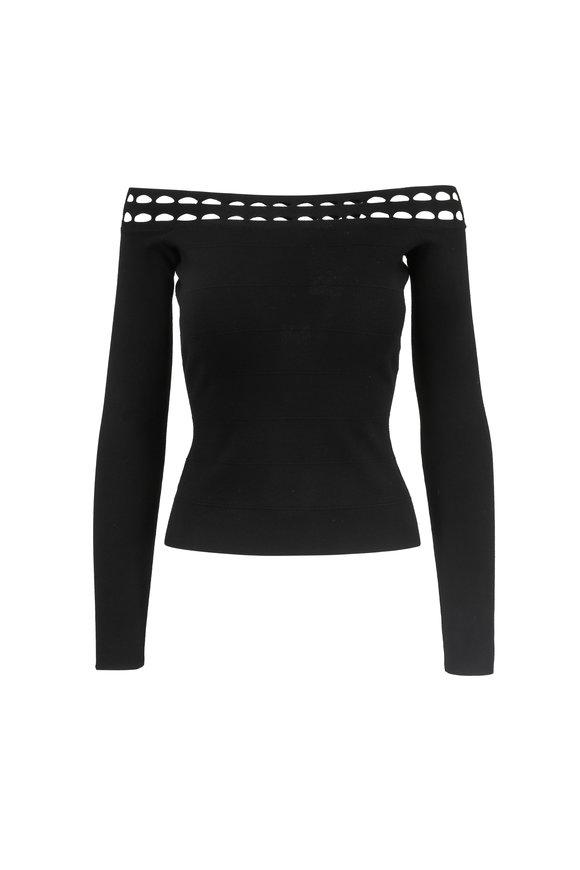 Elizabeth & James Eniko Black Off-The-Shoulder Knit Top