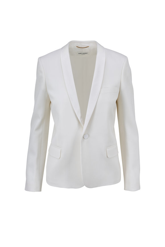 Saint Laurent White Wool Single Breasted Smoking Jacket