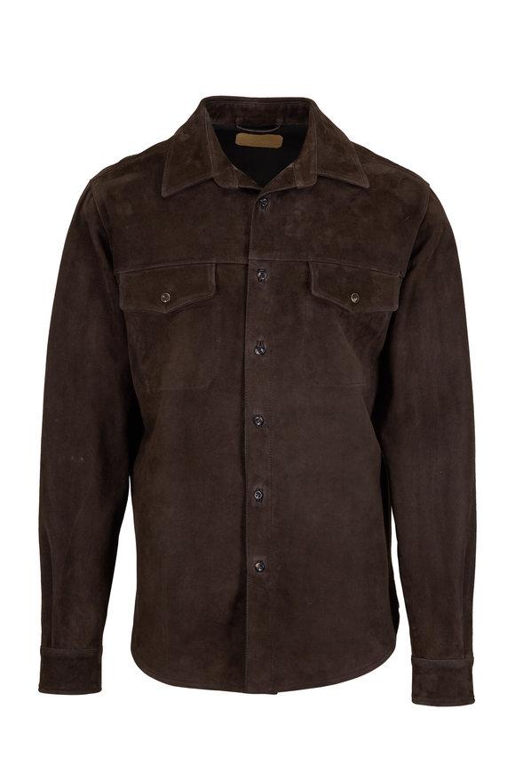 AJMONE Chocolate Brown Suede Jacket