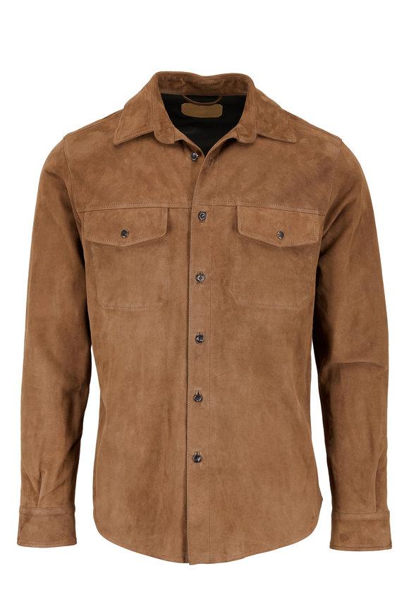 AJMONE Tobacco Brown Suede Jacket