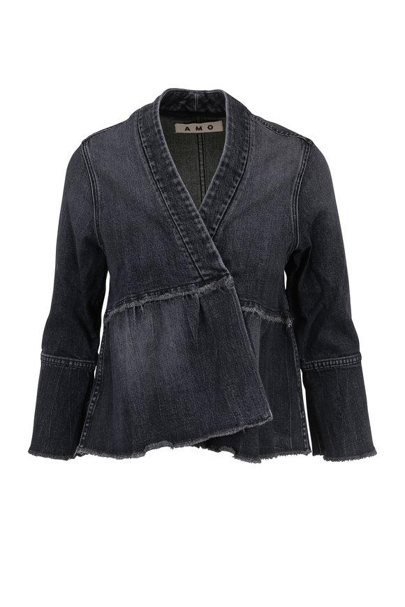Amo Paloma Black Denim Flounce Jacket
