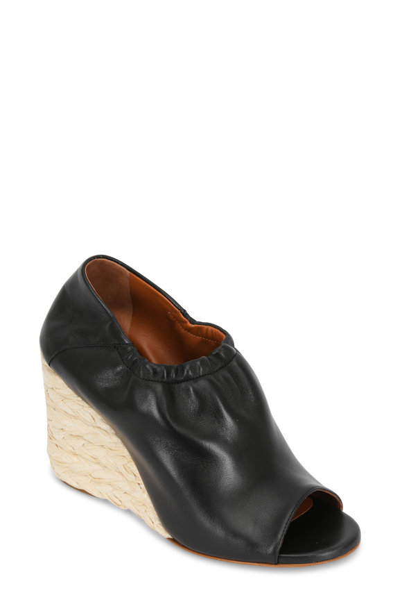 Derek Lam Cosimia Black Leather Open-Toe Sip-On Wedge, 90mm